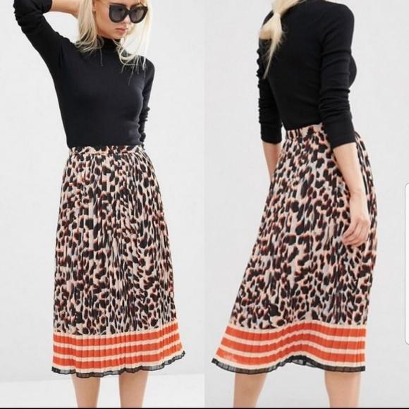 342583541c ASOS Dresses & Skirts - ASOS Leopard Colorblock Pleated Midi Skirt